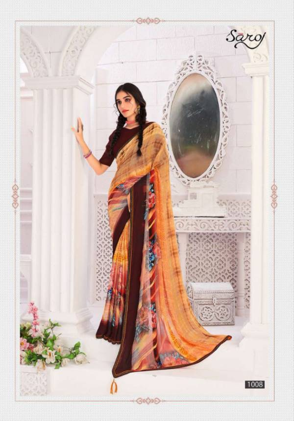 Hot and Cool Brasso 5 star Sattin Patta with Swarovski worked  Casual Wear Sarees Collection