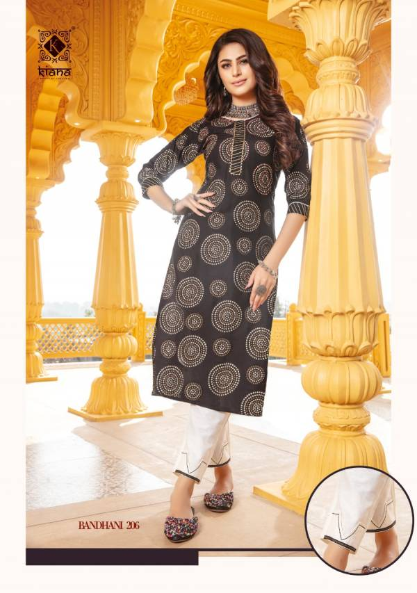 Kiana Fashion Bandhani Vol 2 Series 201-208 Rayon & Cotton With Bandhej Print Hand Work Office Wear Kurti With Bottom Collection