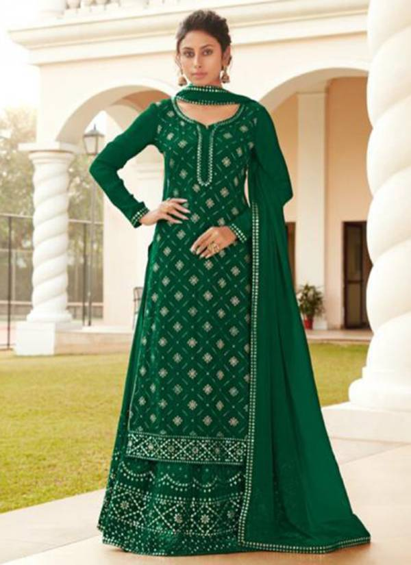 Fiona Ruhi Heavy Chinnon Embroidery Work With Gota Work Palazzo Suits Collection