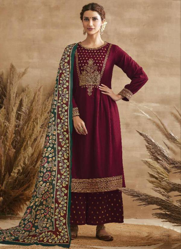 Kimora Kalnkau Series 8301-8308 Tussar Silk With Fancy Embroidery Work Latest Designer Festival Wear Palazzo Suits Collection