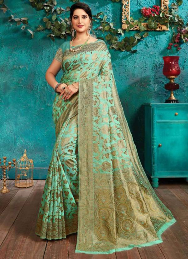 Saroj Sundaram Series 1001-1004 Latest Designer Cotton Jacquard Silk Festival Wear Sarees Collection