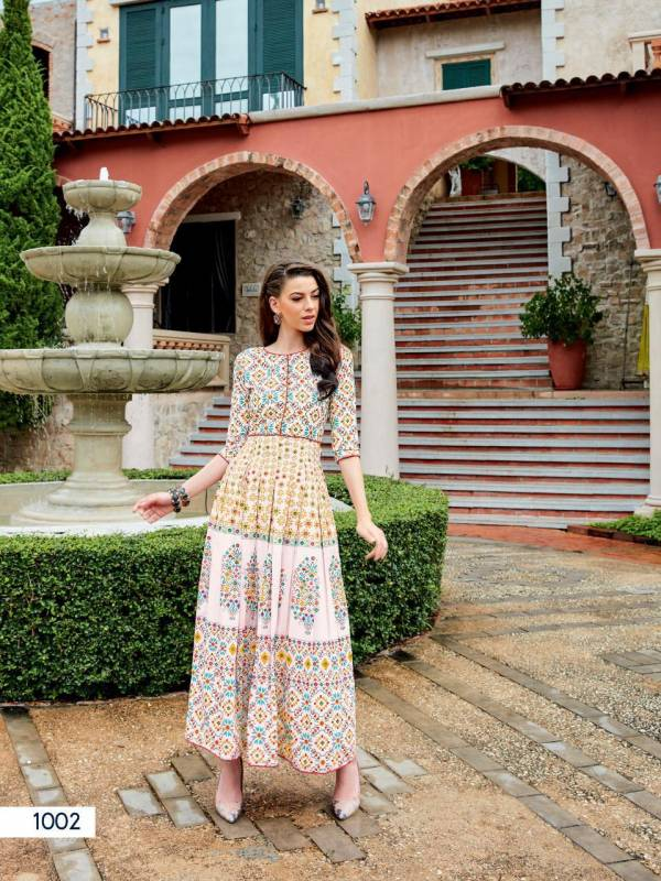 Ladies Flavour Rangreza Series 1001-1004 Muslin Digital Printed With hand Touch Up Designer Gown Style Long Kurtis Collection