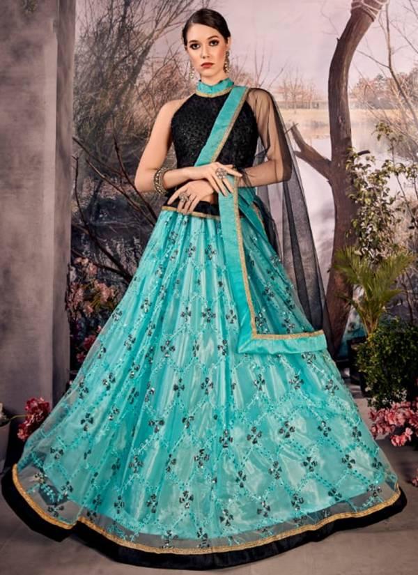 Narayani Fashion House Alina Series 5139-5143 Mono Net Thread,Zari And Sequence Work Party Wear Lehenga Choli Collection