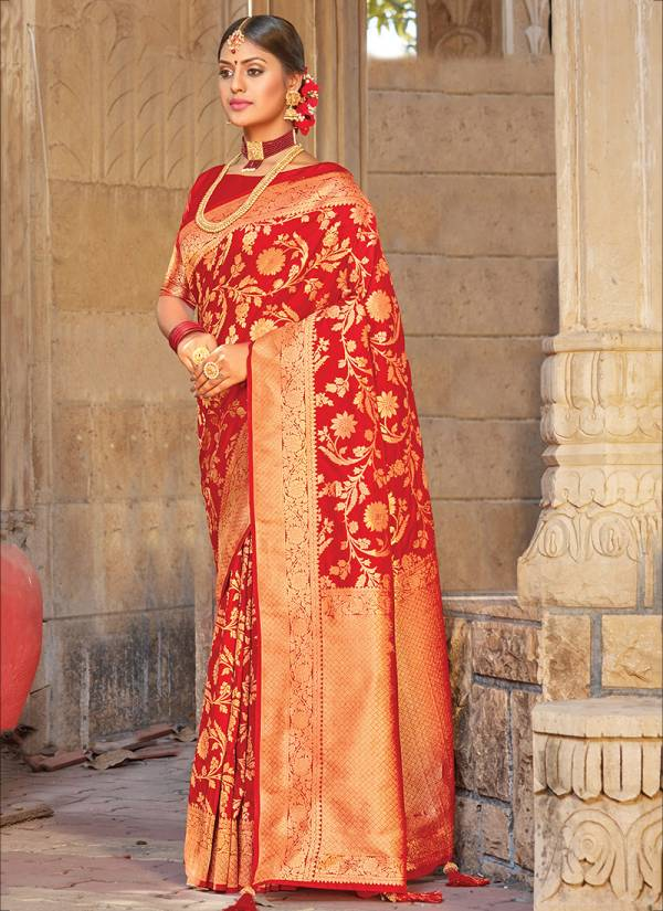 Sangam Prints Red Rose Pure Silk Fancy Embroidery Work Wedding Wear Designer Sarees Collection