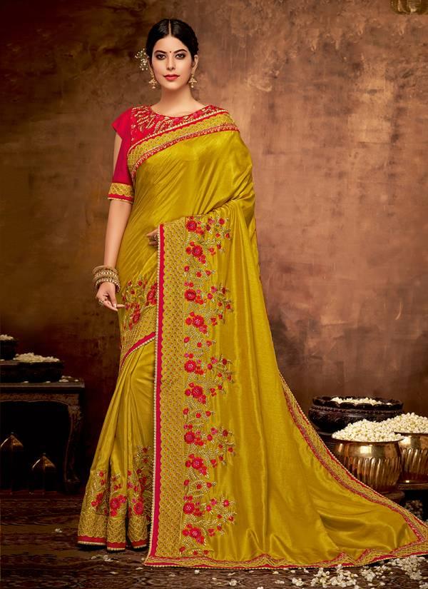 Mahotsav Aashthika Satin Silk Georgette Zari Thread And Coad Embroidery Work Festival wear Designer Sarees Collection