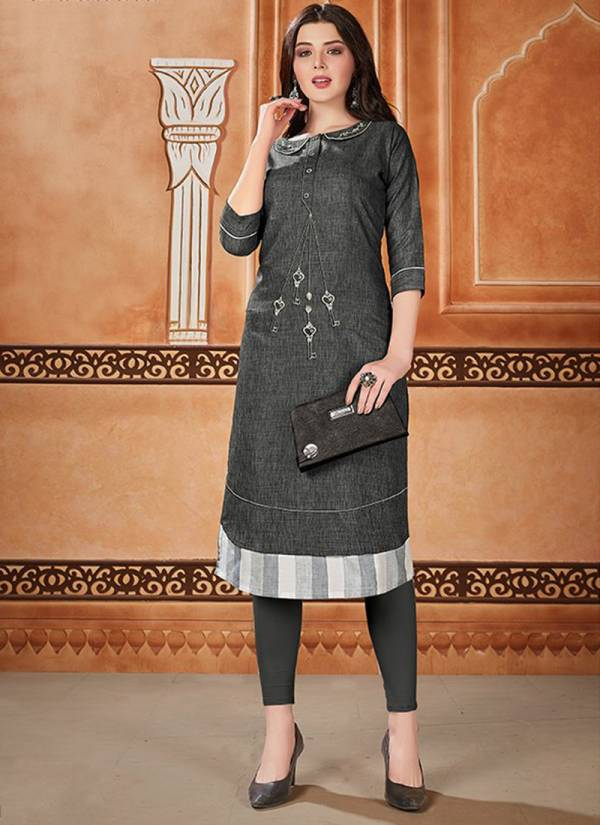 Dehliz Trends Houseful Series 2119-2124 Aman Silk Cotton Base With Embroidery Work Festival Wear Kurti Collection