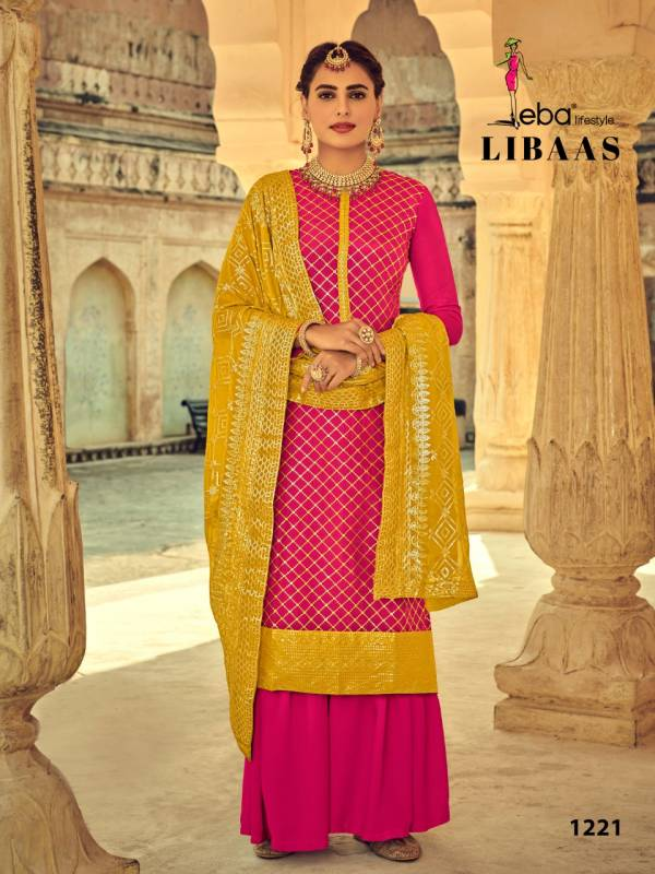 Eba Lifestyle Libaas Series 1216-1221 Heavy Chinnon With Heavy Embroidery Work Latest Designer Palazzo Suits Collection