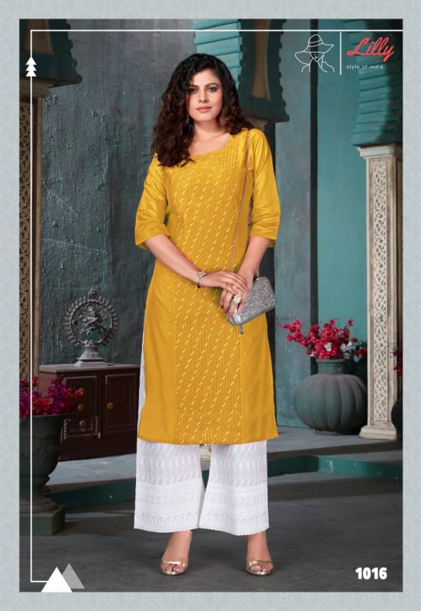 Lilly Zubeda Chanderi With Plet Fancy Kurtis With Palazzo Collection