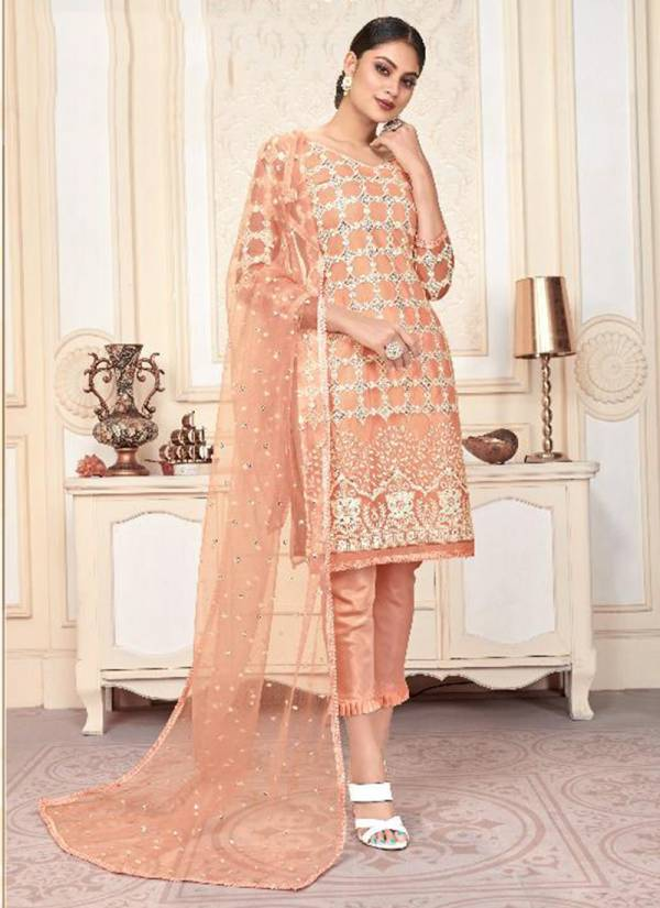 Varni Fabric Zeeya Husna Series 1201-1204 Butterfly Net With Heavy Embroidery Work Festival Wear Suits Collection