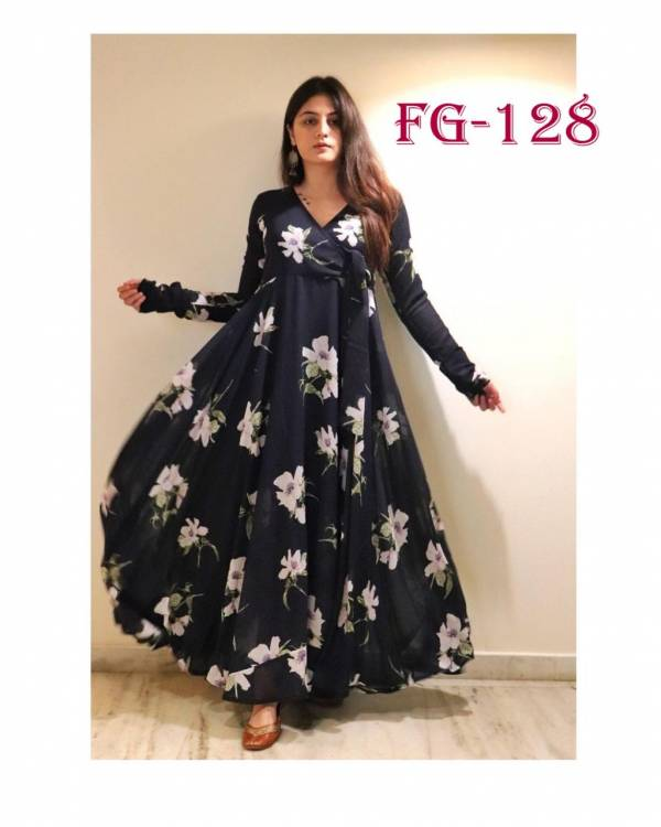Fashion Galleria Flower Valley Series FG-124 - FG-127 Leon Georgette With Fancy Digital Printed Work Long Gown Style Stylish Look Kurti Collection