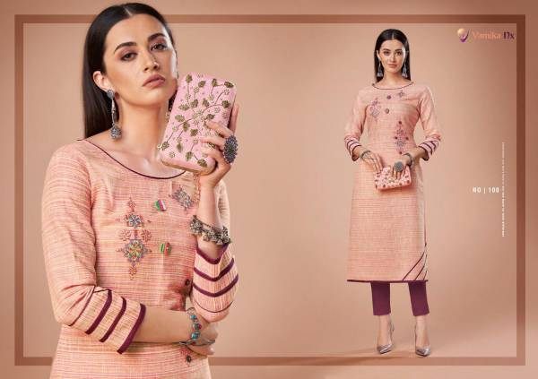 Vamika NX Rosy Vol 2 Series 107-112 Cotton With Self Weaved New Designer Daily Wear Straight Cut Kurtis Collection
