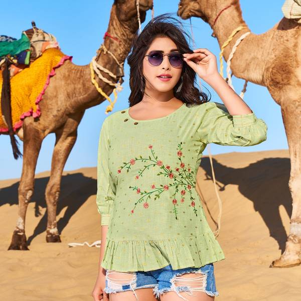 Yami Fashion Fame Rayon Base Fancy Embroidery Work Short Top Collection