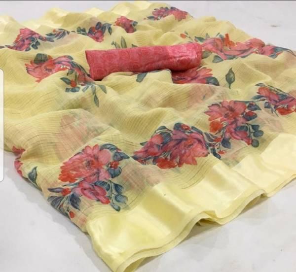 Nakshatra Fashion Studio Fashion Dictionary Series 01-014 Fancy Soft Linen Satin Patta Floral Printed Sarees Collection