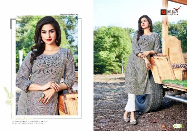 12 Angel Pestle Series 1001-1006 Cotton Fancy Look Designer Daily Wear Kurtis Collection