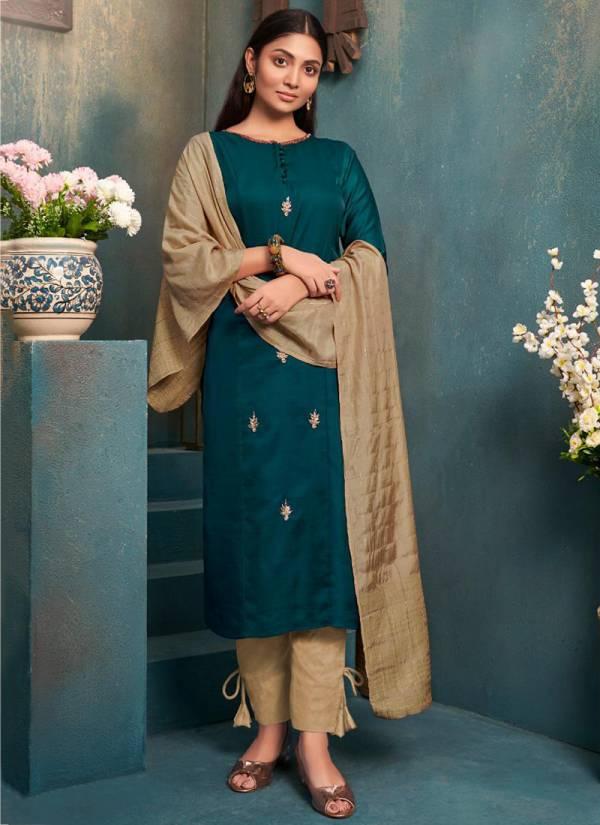 Anyuka Anika Series 120-127 Tussar Satin And Muslin Latest Designer Kurtis With Pants Collection
