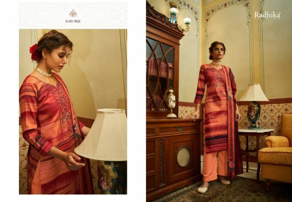 Radhika Fashion Mussaret Vol 13 Jam Cotton With Print And Work Palazzo Suits Collection