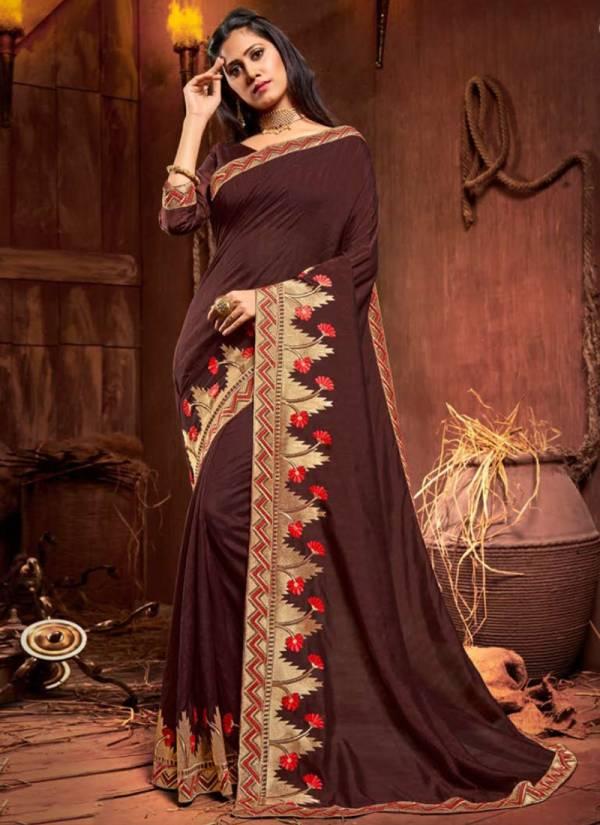 Saroj Ishika Vichitra Silk Heavy Zari Border Work Festival Wear Saree Collections