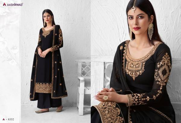 Aashirwad Saffron Series 8348-8353 Real Georgette With Stylish Look Embroidery Work Festival Wear Salwar Suits Collection