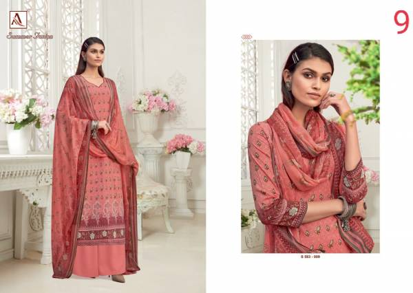 Alok Suit Summer Fashion Pure Cambric Digital Printed Work Wedding Wear Designer Palazzo Suits Collection