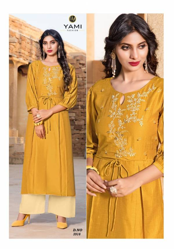 Yami Fashion Reshmi Vol 2 Viscose With Fancy Embroidery Work Party Wear Kurtis With Palazzo Collection