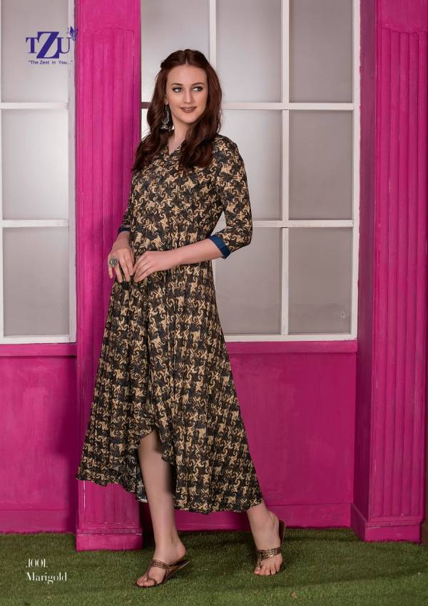 TZU Marigold Series 1001-1005 Glace Rayon With Printed Style Long Round Cut Designer Casual Wear Floor Length Kurtis Collection
