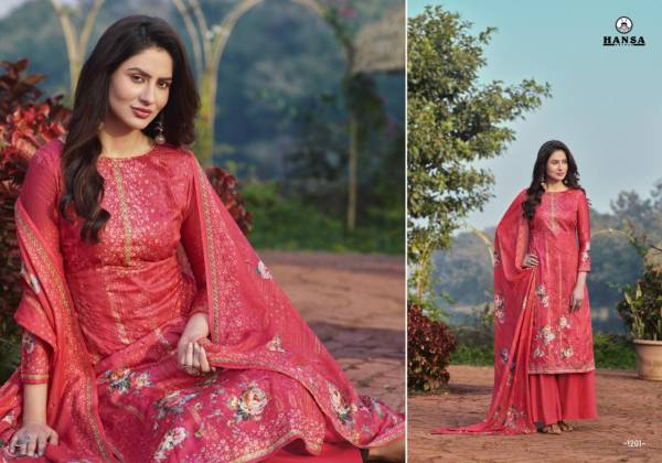 Hansa Sabiha Jam Cotton Digital Printed With Designer Work Palazzo Suits Collection