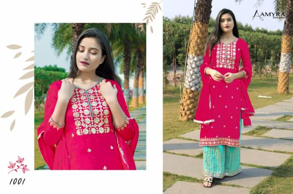 Aamyra Designer Mumtaaz Pure Viscose Upada With Embroidery Work Sharara Suits Collection