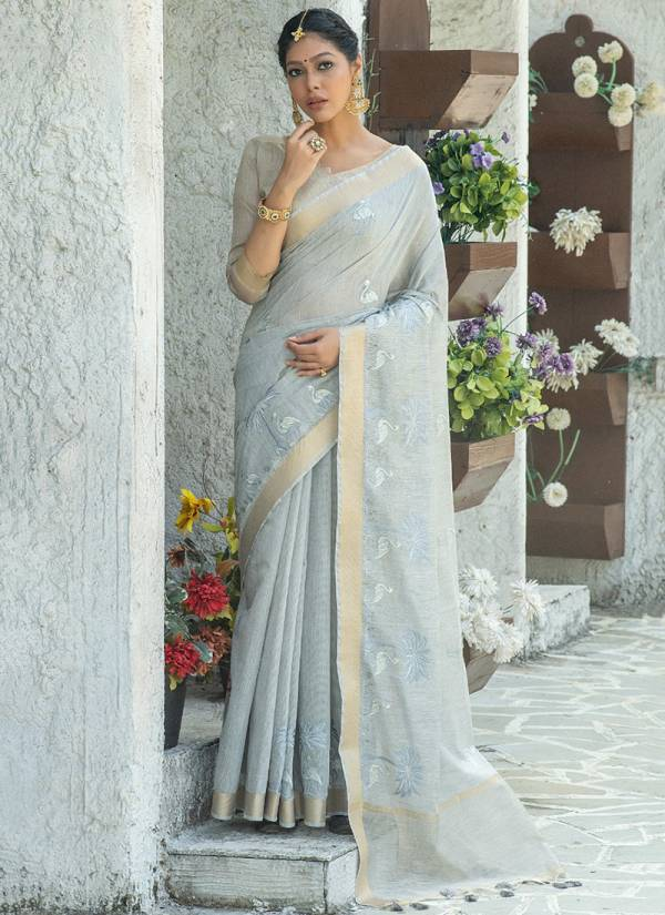 Ladys Ethnic Mahira Linen Cotton Embroidery Work Sarees Collection