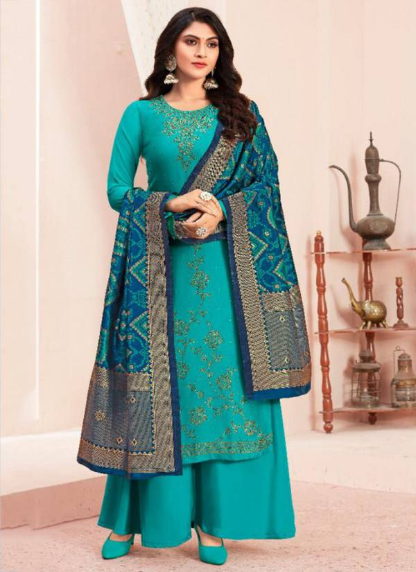 Fiona Bandhej Series 22911-22914 Traditional Wear Satin Georgette With Swarovski Fancy Work Salwar Suits Collection