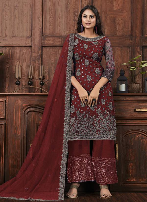 An Bazaar Vipul 4572 Series 4572A-4572D Heavy Butterfly Net With Sequins Work Latest Designer Party Wear Palazzo Suits Collection