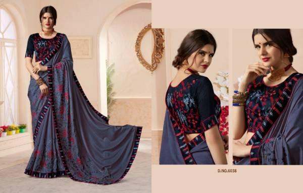 Kessi Naari Series 6031-6040 Dolla Georgette & Vichitra Silk With Thread Work & Embroidery Work Sarees Collection
