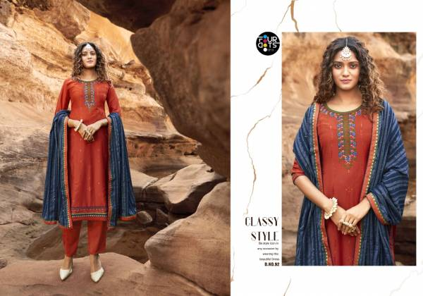 Four Dots Baani Series 91-94 Parampara Silk With Embroidery Work & Sequence Work Latest Designer Casual Wear Salwar Suits Collection