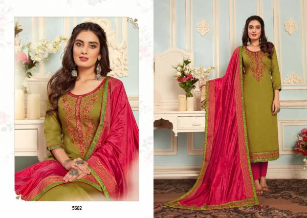 Kessi Silk Shine Vol 4 Series 5681-5688 Pure Jam Cotton Silk Embroidery With Khatli Work Designer Casual Wear Straight Suits Collection