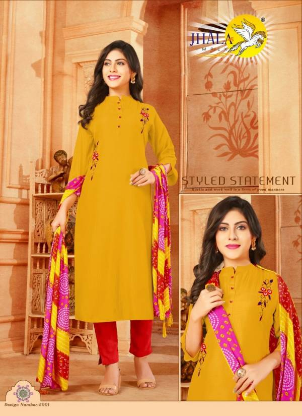 Jhala Impex Reeti Series 5001-5007 Muslin Silk With Khatli Hand Work Latest Designer Kurtis With Dupatta Collection