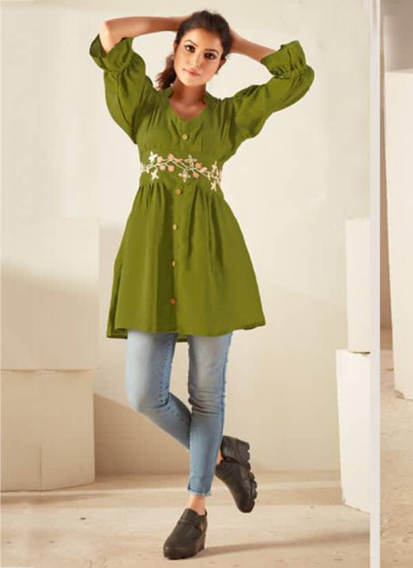Kurti Times Orchid Series 6001-6005 Viscose With Fancy Embroidery Work Latest Designer Casual Wear Tops Collection