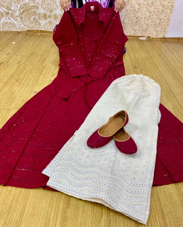 VE Pure Cotton Chikan Anarkali With Sequence Work Readymade Anarkali Suits With Punjabi Jutti Collection n(38-48 Sizes)