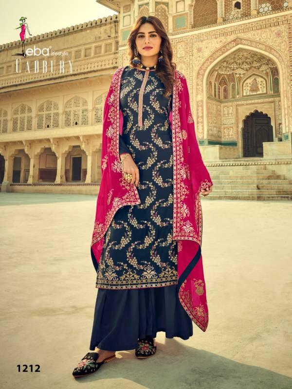 Eba Lifestyle Cadbury Pure Viscose Upada Silk Festival Special Palazzo Suits Collection