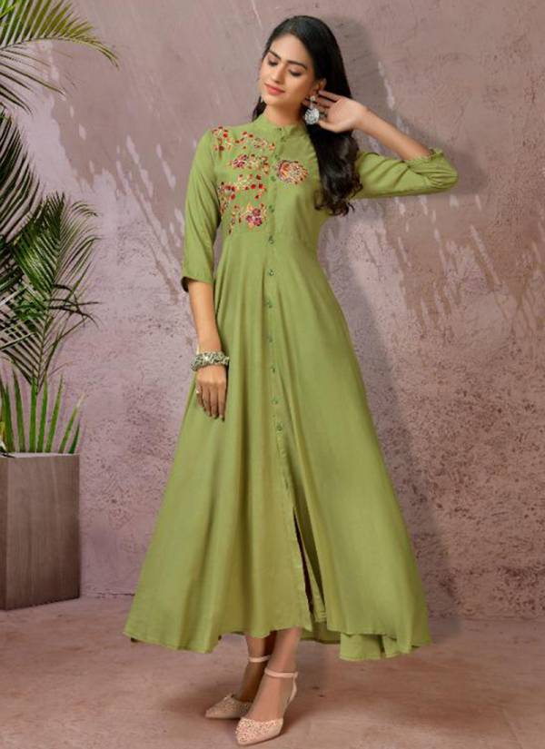 Vardan Designer Fame Vol 1 Series 6031-6034 Heavy Rayon Latest Designer Casual Wear Gown Style Long Kurtis Collection