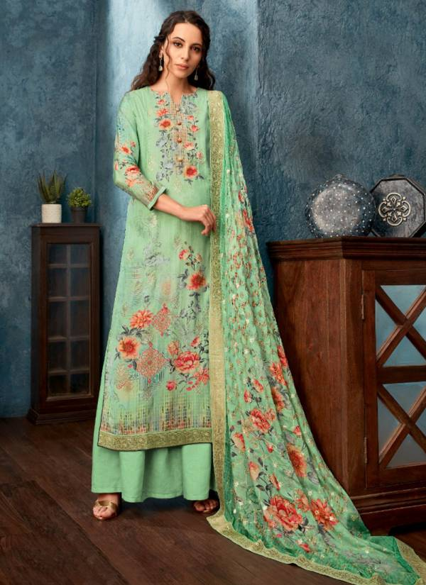 Glossy Zarra Series 4545-4552 Pure Viscose Muslin Embroidery Work Designer Festival Wear Palazzo Suits Collection