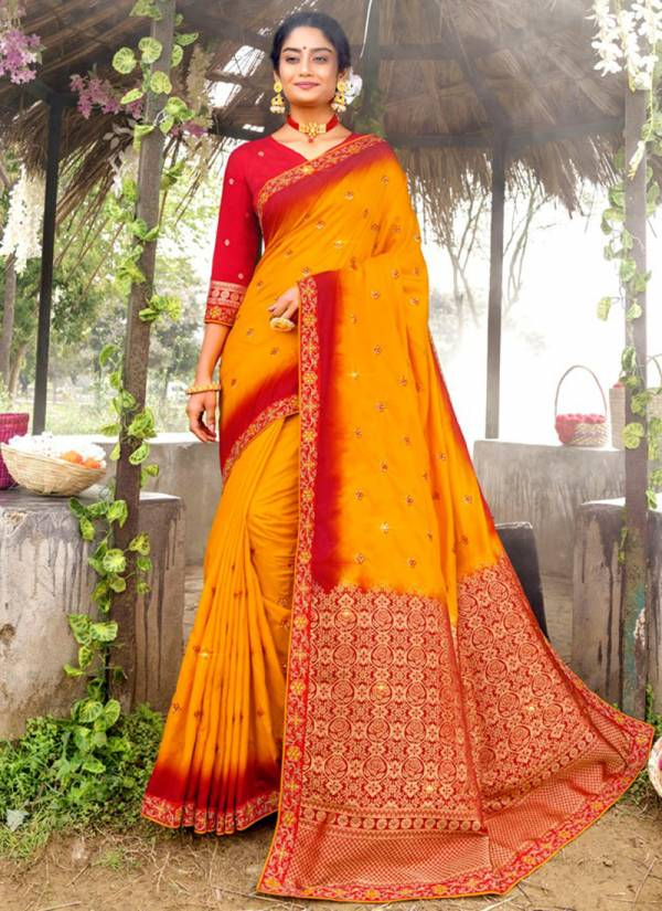 Lifestyle Kashyapi Series 68341-68346 Fancy Nylone Silk Rich Pally With Embroidery Raw Silk Work Sarees Collection