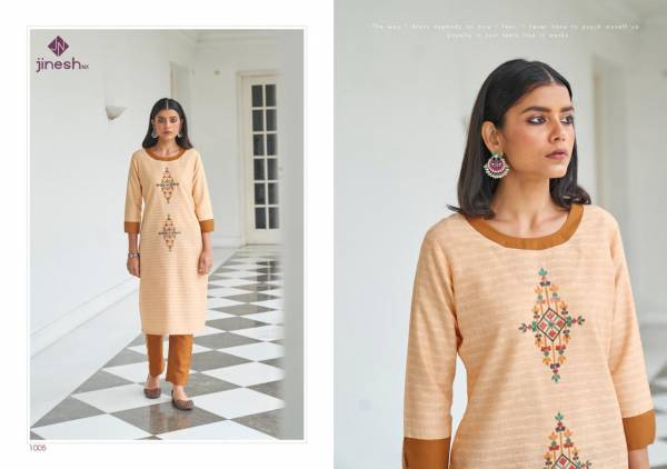 Shubh NX Wilson Cotton Strip With Hand Work Fancy Kurtis With Pants Collection