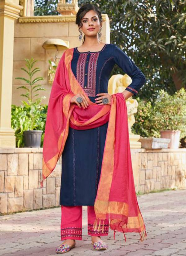 Kessi Fashion Catwalk Heavy Rayon Viscose Cotton With Fancy Value Addition Work Party Wear Readymade Salwar Suit Collections