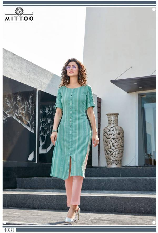 Mittoo Mohini Weaving Stripes Casual Daily Wear Kurti-Pants Collection