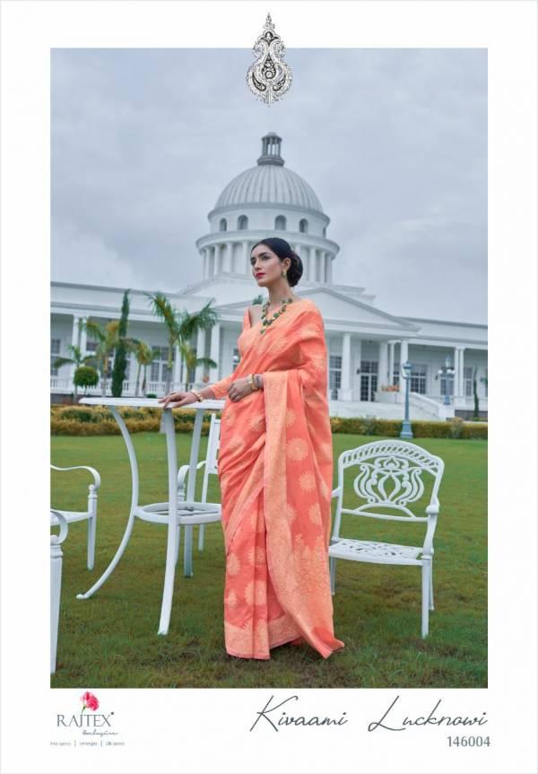Rajtex Kiwami Series 146001-146006 Banarsi Cotton With Chikankari Weaving Work Festival Wear sarees Collection