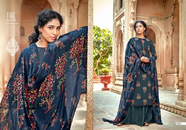 Sweety Fashion Kaveri Series 1001-1008 Rayon Copper Printed Fancy Casual Wear Palazzo Suits Collection