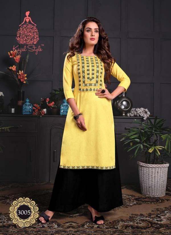 Kajal Style Fashion Galaxy Vol 3 Series 3001-3006 Rayon Printed With Stylish Embroidery 7 Aari Work Kurti With Palazzo  Collection