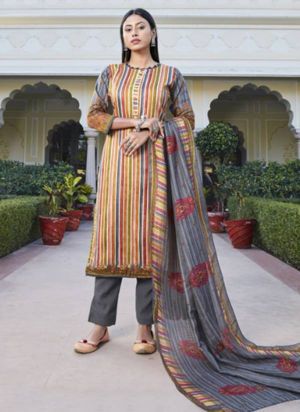 Bipson Kaira Cotton Satin Printed With Designer Work Casual Wear Salwar Suits Collection