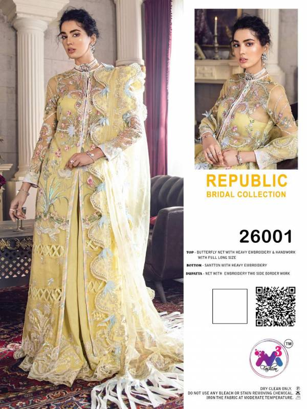 M3 Fashion Republic Bridal Collection Series 26001-26003 Butterfly Net With Heavy Embroidery & Hand Work Eid Special Pakistani Suits Collection