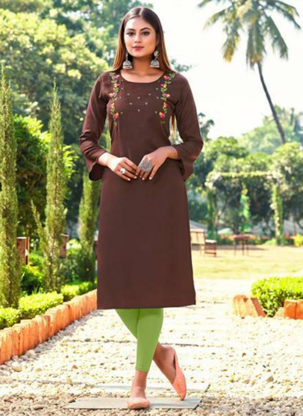 Shubh NX Dinnar Series 1001-1010 Ruby Slub With Embroidery Work Straight Cut Wholesale Kurtis Collection