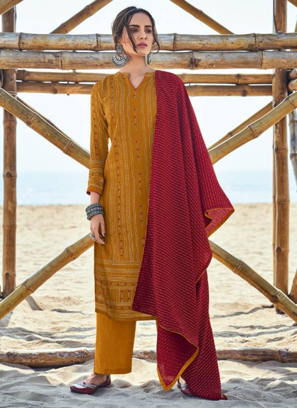 Sweety Fashion Golden Cotton Satin Stylish Look Festival Wear Designer Palazzo Suits Collection